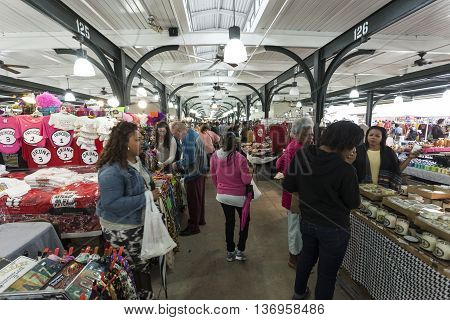 NEW ORLEANS USA - APR 16 2016: Traditional market in the old town of New Orleans. Louisiana United States