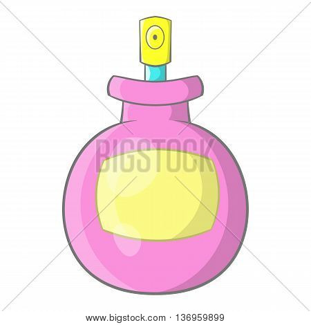 Pink female perfume flacon with sprayer icon in cartoon style on a white background