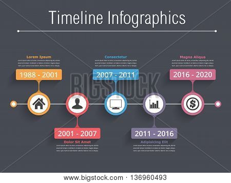 Horizontal timeline with place for icons, dates and text, timeline infographics template, vector eps10 illustration