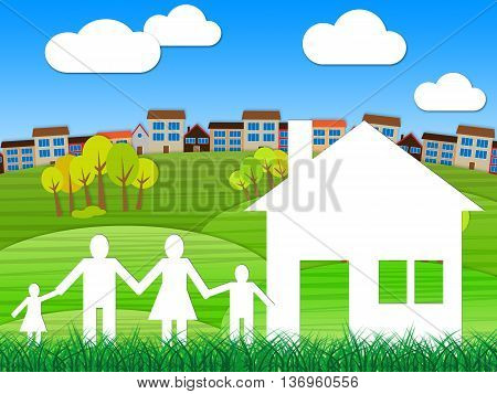 Town House Indicates City Home And Household
