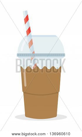 Milk Cocktails Glass of drink with tubule on white background. Vector