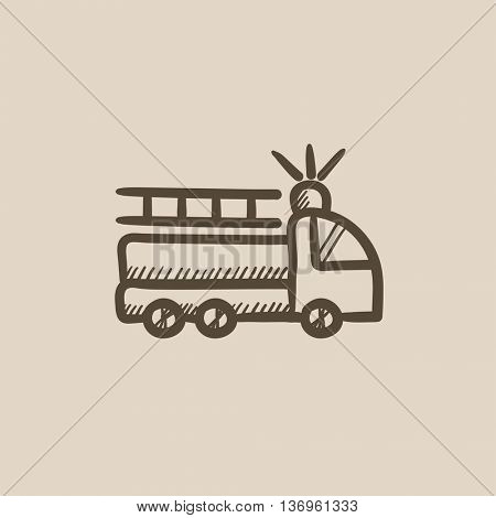 Fire truck vector sketch icon isolated on background. Hand drawn Fire truck icon. Fire truck sketch icon for infographic, website or app.