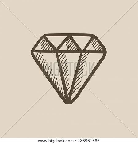 Diamond vector sketch icon isolated on background. Hand drawn Diamond icon. Diamond sketch icon for infographic, website or app.