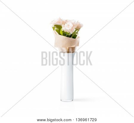 Blank white vase with flowers bouquet design mockup, clipping path. Clear water glass mock up template stand with roses. Plain vase shape surface ready for your pattern presentation. Vase isolated.