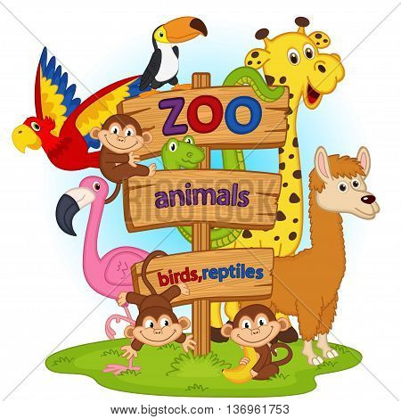 zoo animals near wooden sign - vector illustration, eps