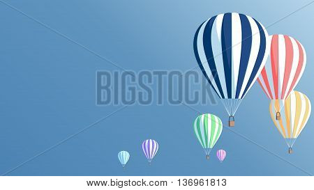 Multicolored hot air balloons in the blue sky vector illustration