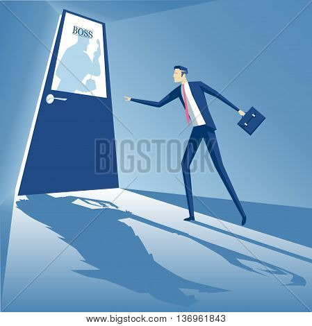 Boss shouting into the phone and an employee is standing at the door and afraid to go inside business concept boss monster business concept fear of superiors