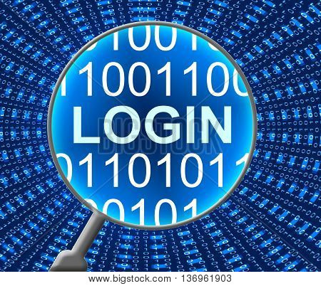 Online Login Indicates Web Site And Computing
