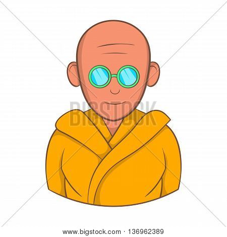Indian monk in sunglasses icon in cartoon style on a white background