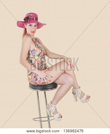 cute girl expressive with pink hat vintage effect