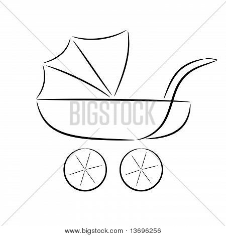 Cartoon Silhouette Of A Pram