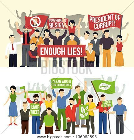 Political and ecological demonstrations horizontal banners with crowd demanding people with flags placards isolated vector illustration