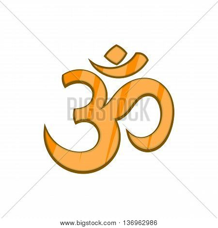 Hindu Om symbol icon in cartoon style on a white background