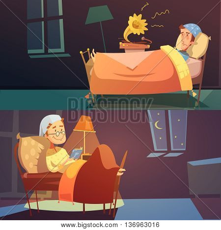 Horizontal color banners depictin man in bed in nightcap with bad and good sleep vector illustration