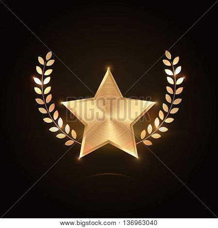 Golden star with wreath. Vector on black background for your design. Premium quality elements