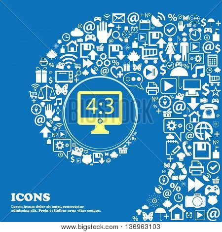 Diagonal Of The Monitor 21 Inches Icon Sign . Nice Set Of Beautiful Icons Twisted Spiral Into The Ce