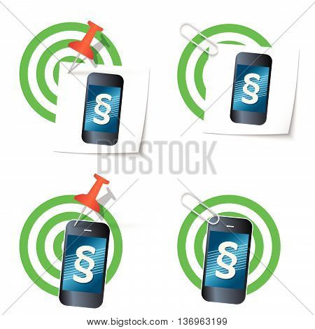 Four targets and smart phone with paragraph