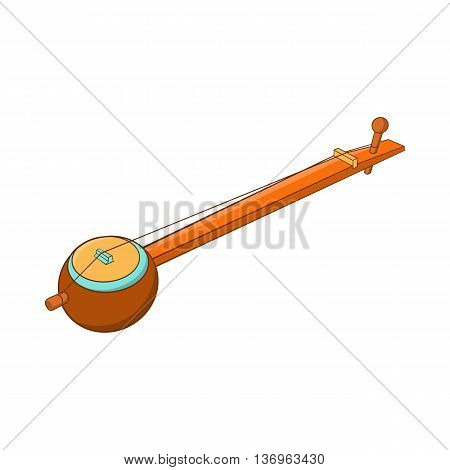 Traditional one string Indian ektara icon in cartoon style on a white background