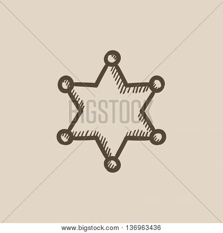 Police star vector sketch icon isolated on background. Hand drawn Police star icon. Police star sketch icon for infographic, website or app.