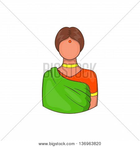 Indian woman in traditional Indian sari icon in cartoon style on a white background