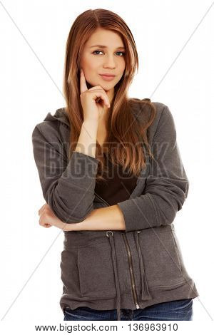 Teenage woman with folded hands