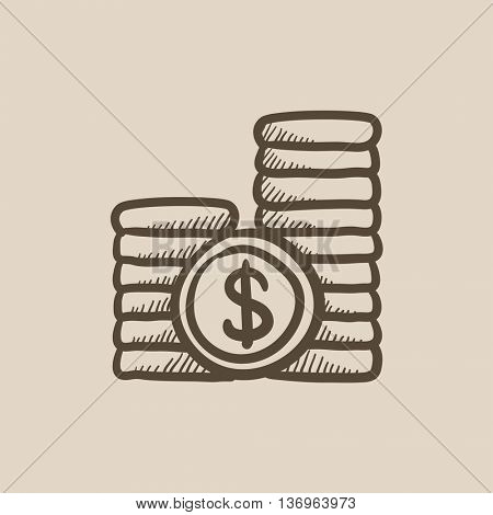 Dollar coins vector sketch icon isolated on background. Hand drawn Dollar coins icon. Dollar coins sketch icon for infographic, website or app.