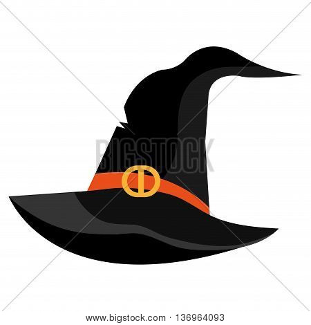 Witch hat cartoon isolated on white background, vector illustration.