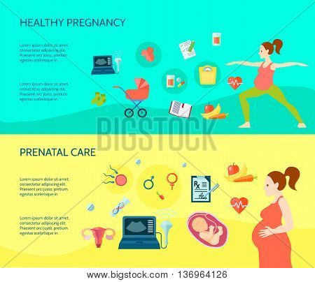 Pregnancy horizontal compositions set with healthy pregnancy symbols flat isolated vector illustration