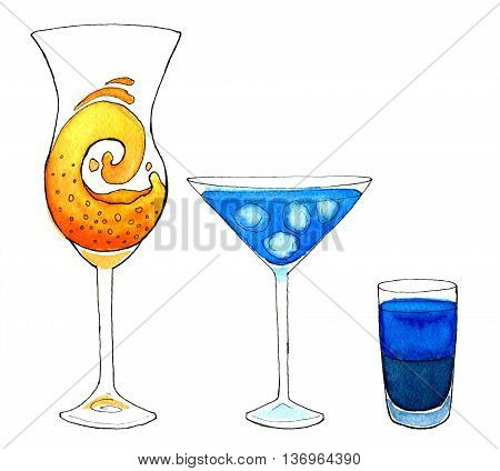 Set of 3 fresh and icy cocktails. Hand drawn watercolor illustration of orange and blue drinks.