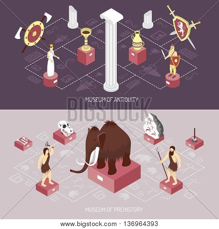 Antiquity cultural history museum 2 isometric flowchart elements banners with mammoth and archaeological finds isolated vector illustration