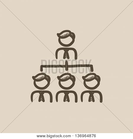 Business team vector sketch icon isolated on background. Hand drawn Business team icon. Business team sketch icon for infographic, website or app.