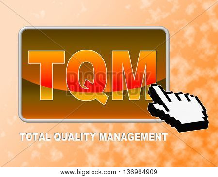 Tqm Button Indicates Total Quality Management And Control