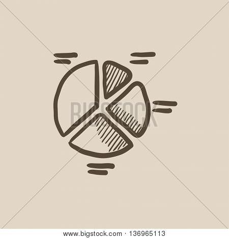 Pie chart vector sketch icon isolated on background. Hand drawn Pie chart icon. Pie chart sketch icon for infographic, website or app.