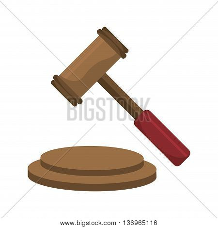 Justice gavel isolated icons over white background, vector illustration.