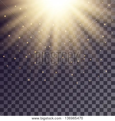 Golden rays from top with shiny particles on transparent background.