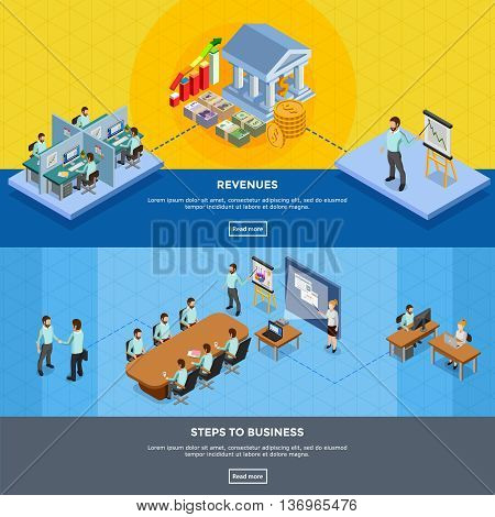 Isometric office banners with clerks at their workplaces and in presentation room isolated vector illustration