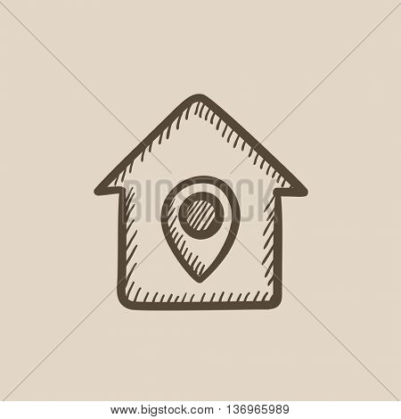 House with pointer vector sketch icon isolated on background. Hand drawn House with pointer icon. House with pointer sketch icon for infographic, website or app.