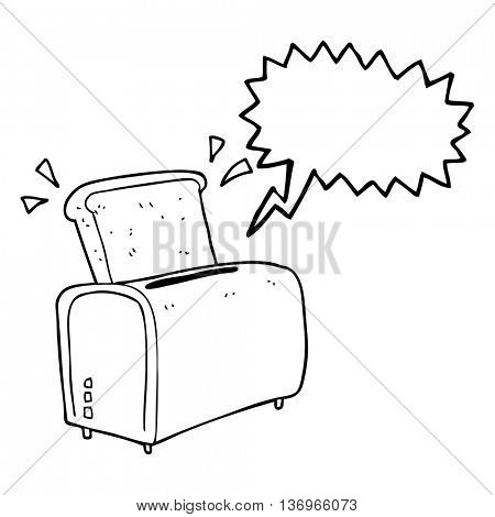 freehand drawn speech bubble cartoon toaster