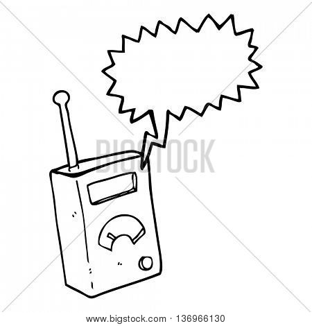 freehand drawn speech bubble cartoon scientific device