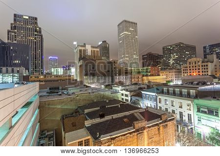 New Orleans downtown district illuminated at night. Louisiana United States