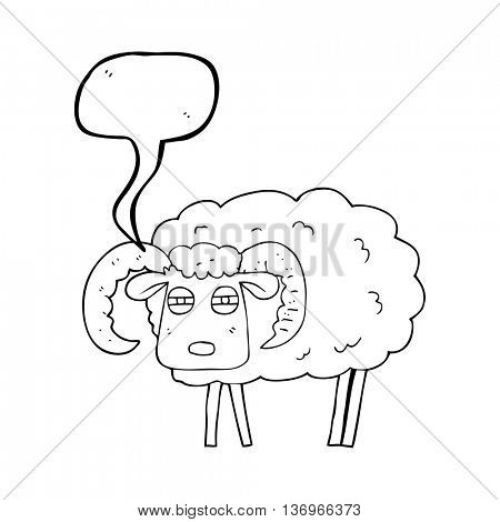 freehand drawn speech bubble cartoon ram