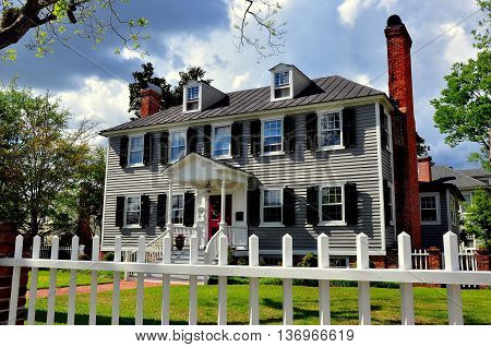 New Bern North Carolina - April 23 2016: 1767 Georgian style Palmer-Tisdale House in the historic district *