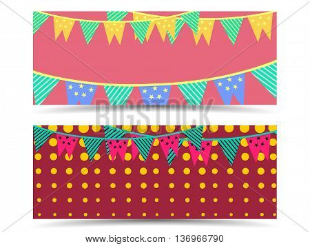 Independence Day flags colorful garland banner with garlands the voucher template with garland and stars. Vector illustration.
