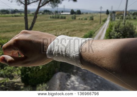 View of bandage due to a sprain