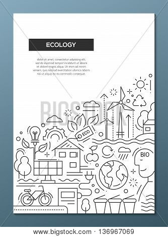 Ecology - vector line design brochure poster, flyer presentation template, A4 size layout. Energy saving, pollution, recycling, heavy industry, climate crisis, ecosystem, environmentally friendly technology