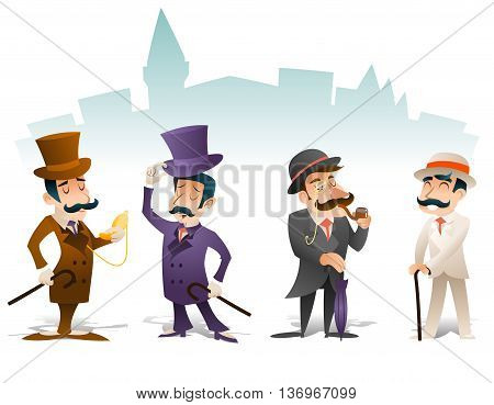 Business Victorian Gentleman Meeting Cartoon Character Set English Great Britain City Background Retro Vintage Design Vector Illustration