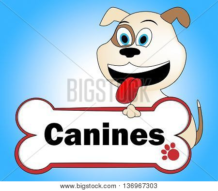 Canine With Bone Indicates Pups Pedigree And Pet