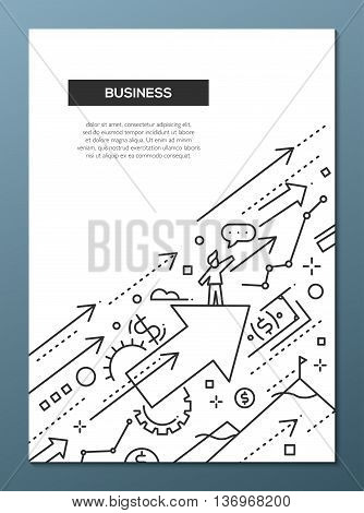 Business Success - vector line design brochure poster, flyer presentation template, A4 size layout. Successful businessman moving forward on arrows