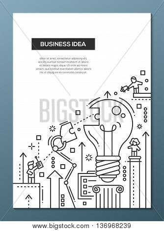 Business Idea - vector line design brochure poster, flyer presentation template, A4 size layout. Robot arms assembling a bulb