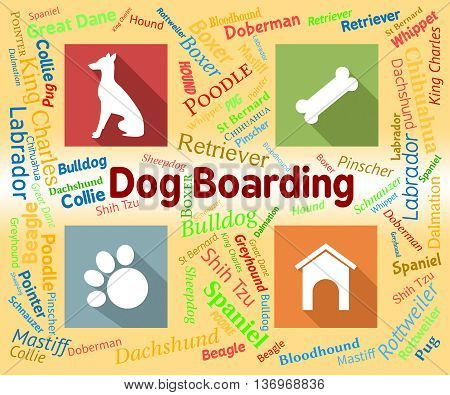 Dog Boarding Represents Pets Vacation And Puppy
